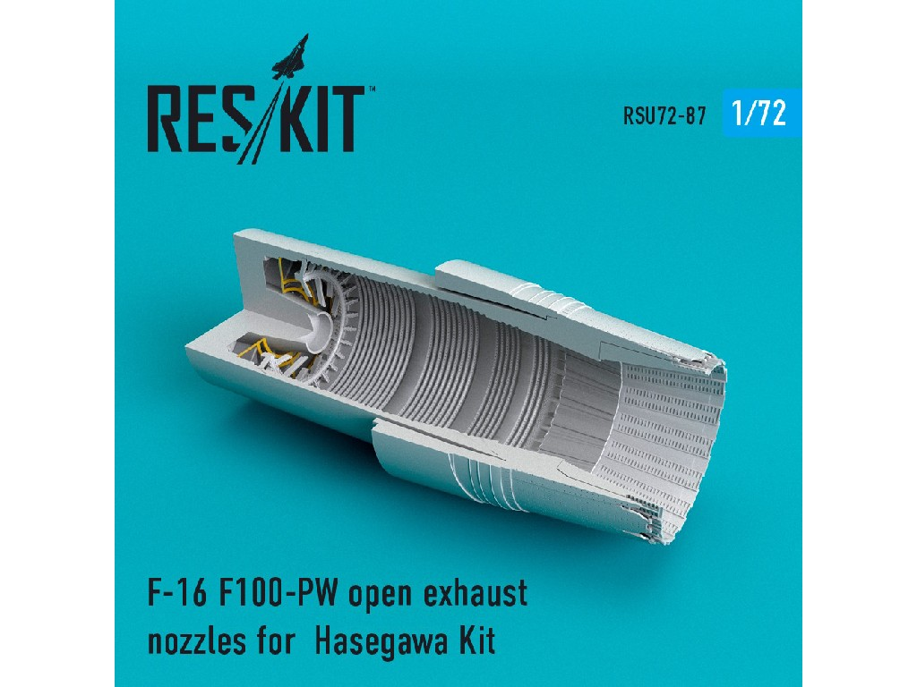1/72 F-16 F100-PW open exhaust nozzles for  Hasegawa Kit