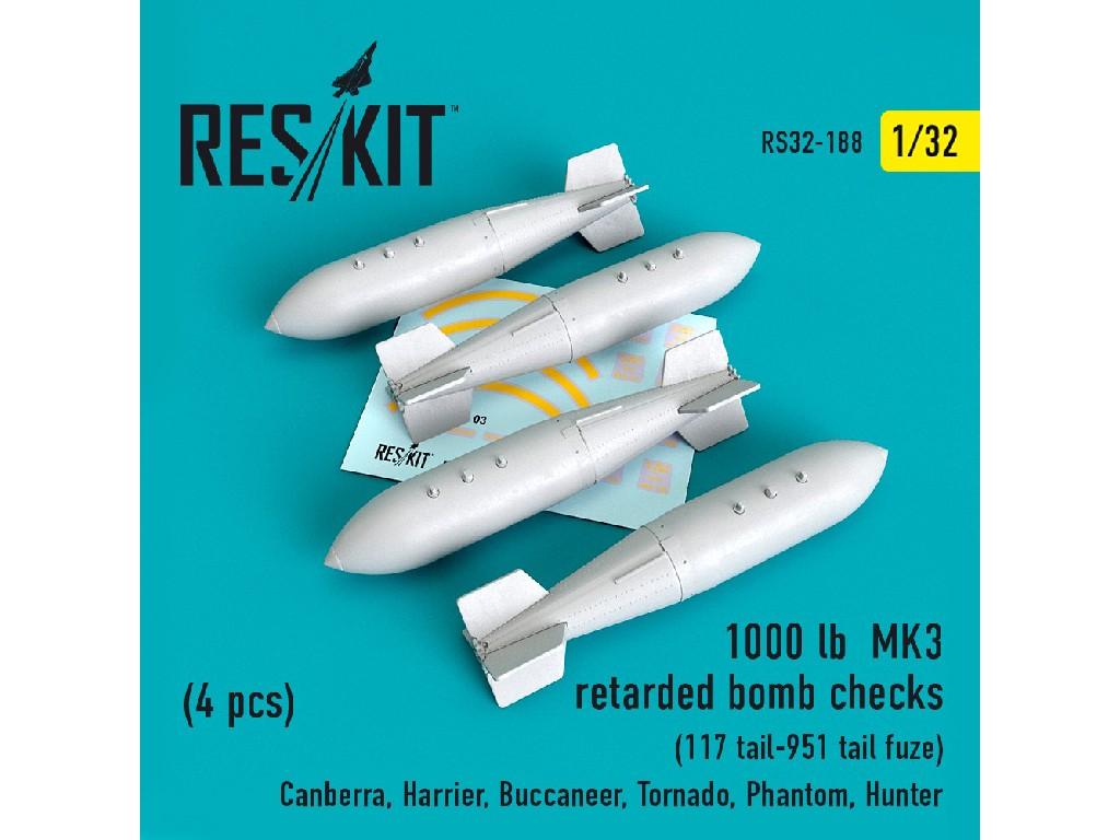 1/32 1000 lb MK3 retarded bomb checks (4PCS)  (117 tail-951 tail fuze)(Canberra, Harrier, Buccaneer,
