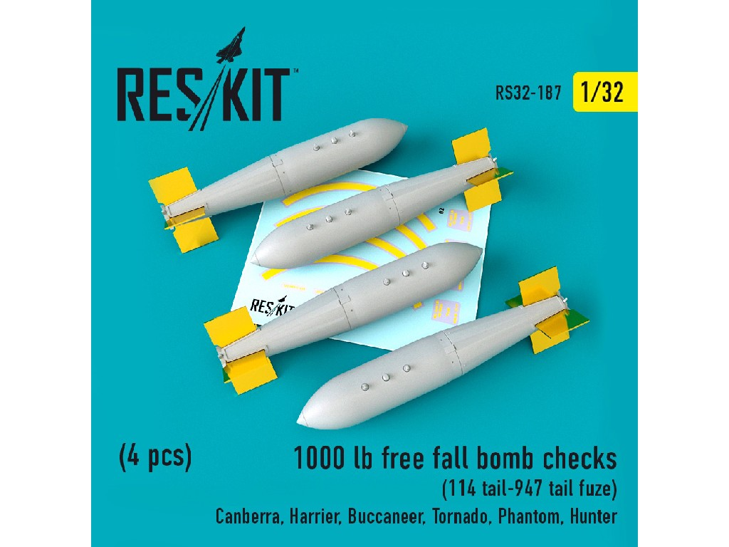1/32 1000 lb free fall bomb checks  (4PCS) (114 tail-947 tail fuze()Canberra, Harrier, Buccaneer, To