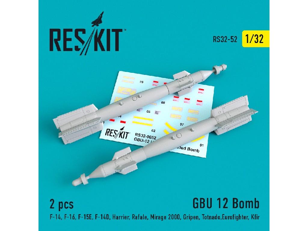 1/32 GBU 12 guided bomb (2 pcs)  (F-14, F-16, F-15E, F-14D, Harrier, Rafale, Mirage 2000, Gripen, To
