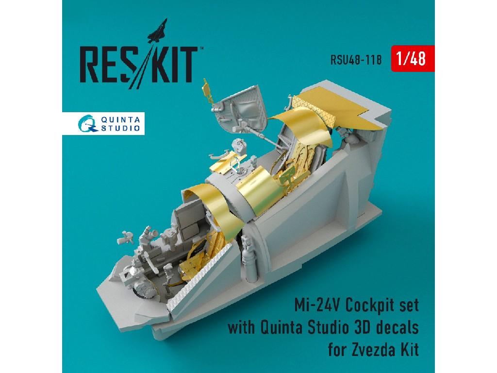 1/48 Mi-24 (V) Cockpit set with Quinta Studio 3D decals for Zvezda Kit