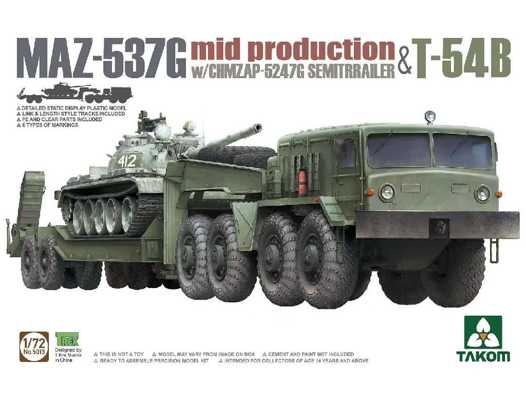 1/72 2 kits Combo MAZ-537G mid production with CHMZAP-5247G Semitrailer + T-54B - Takom