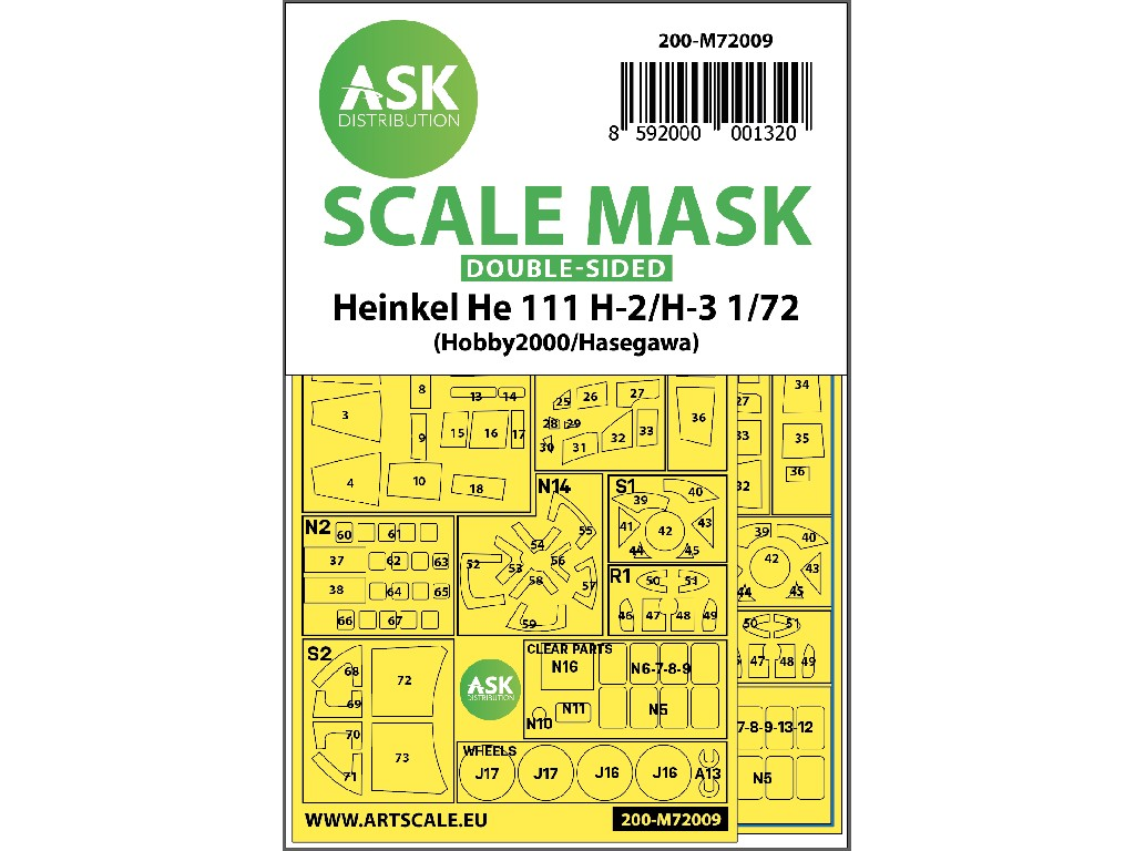 1/72 Heinkel He 111H-2/H-3 double-sided painting mask for Hasegawa / Hobby2000