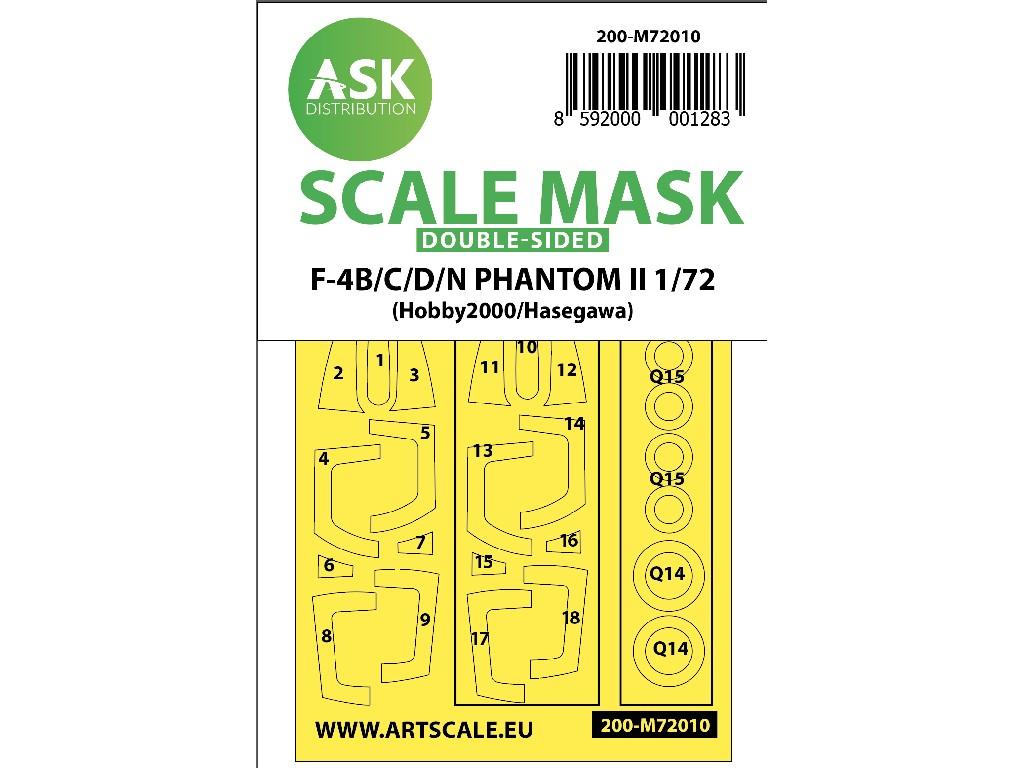 1/72 F-4B/C/D/N Phantom II double-sided painting mask for Hasegawa / Hobby2000