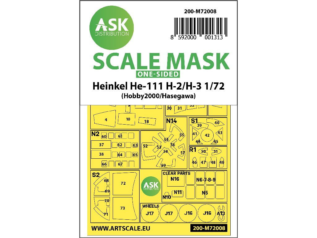 1/72 Heinkel He 111H-2/H-3 one-sided painting mask for Hasegawa / Hobby2000
