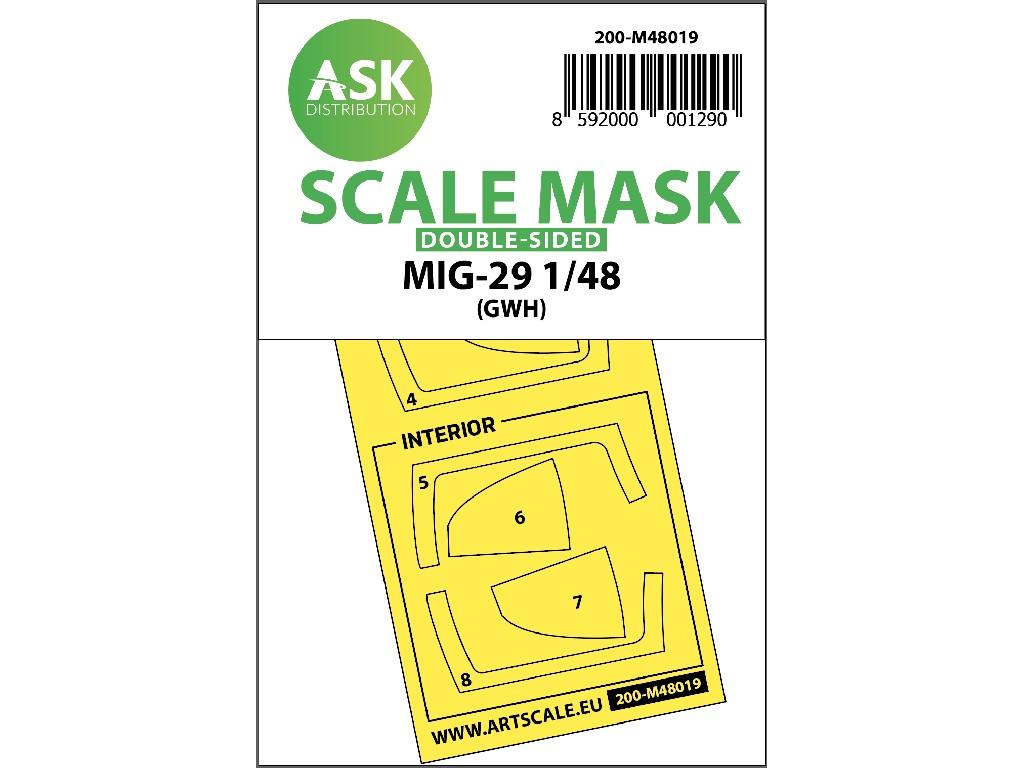 1/48 MiG-29 double-sided painting mask for Great Wall Hobby