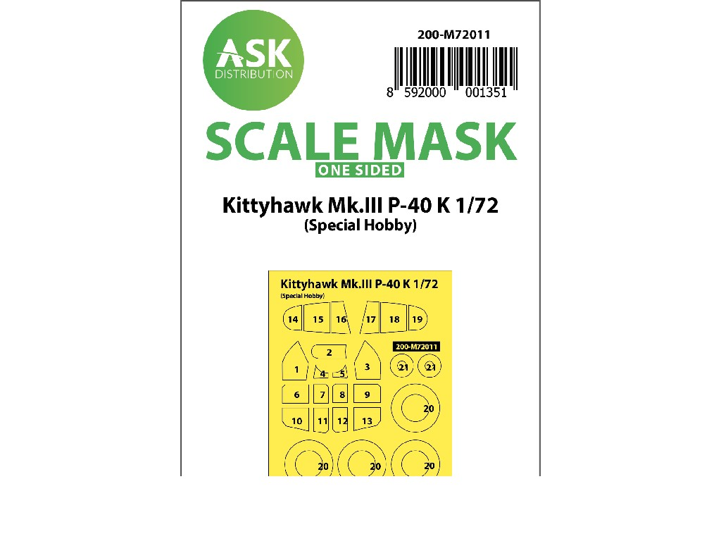 1/72 Kittyhawk Mk.III P-40 K one-sided painting mask for Special Hobby