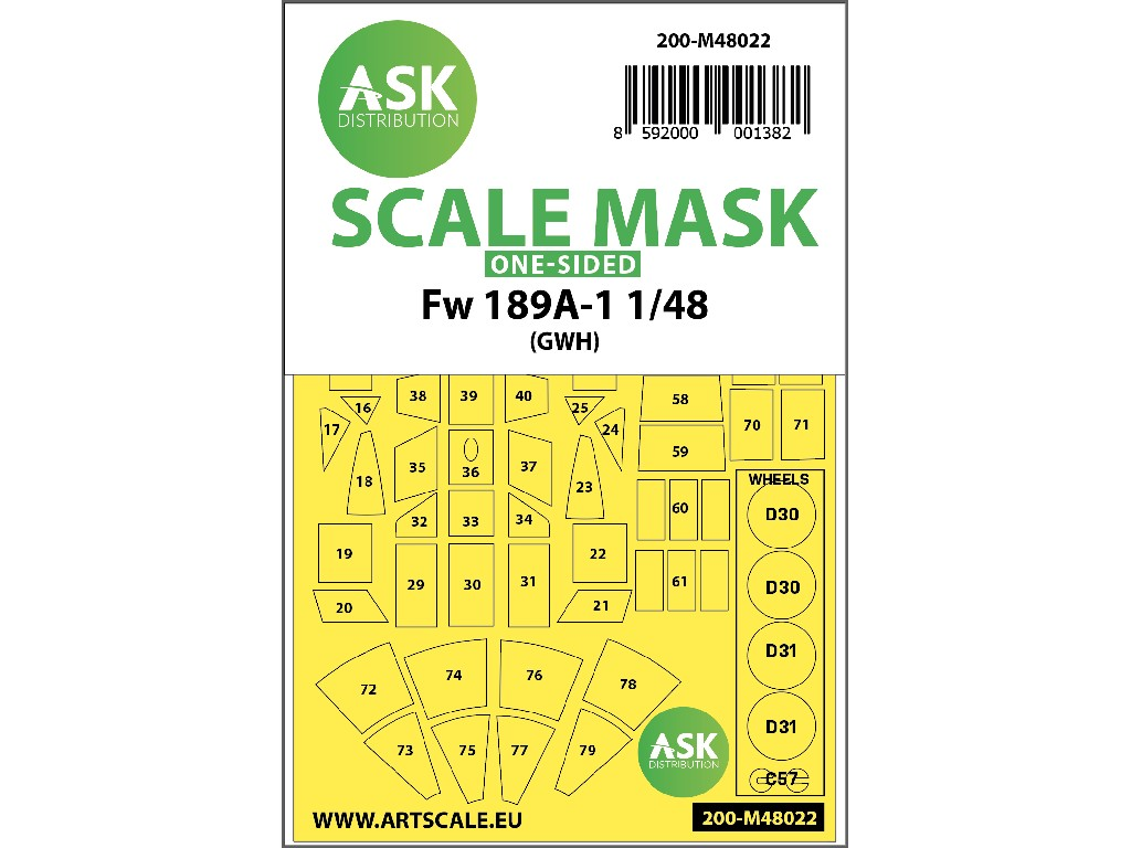 1/48 Focke Wulf Fw 189 one-sided painting mask for Great Wall Hobby