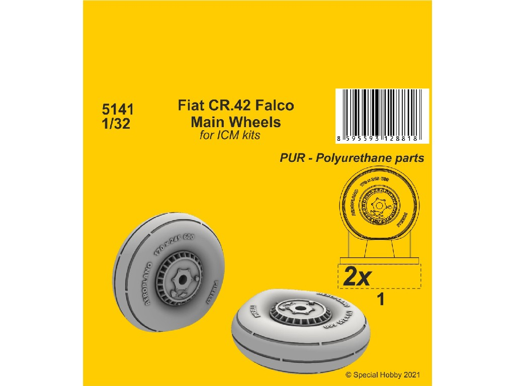 1/32 Fiat CR.42 Main Wheels (ICM kit)