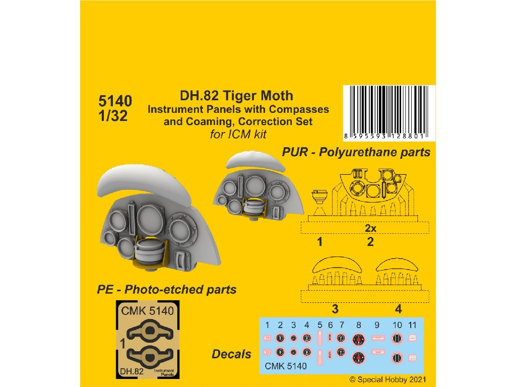 1/32 DH.82 Tiger Moth Instrument P. with Compasses and Coaming, Correction S. (ICM kit)