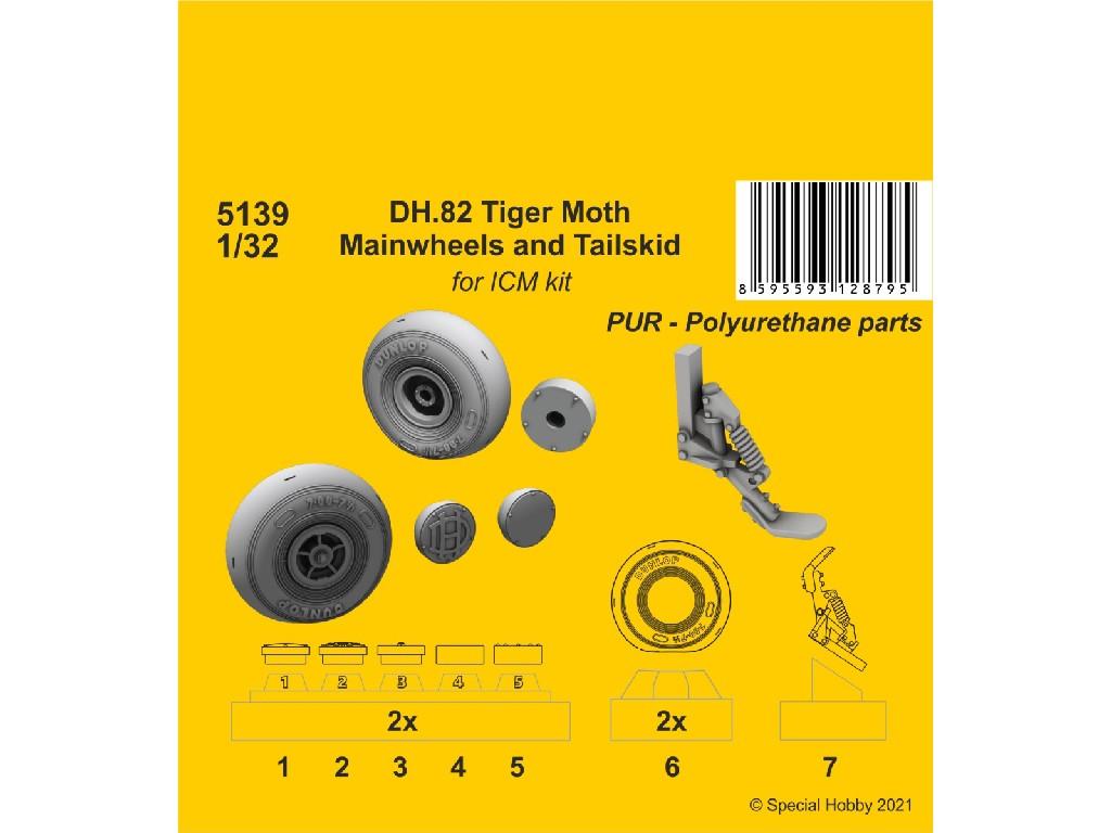 1/32 DH.82 Tiger Moth Mainwheels and Tailskid (ICM kit)