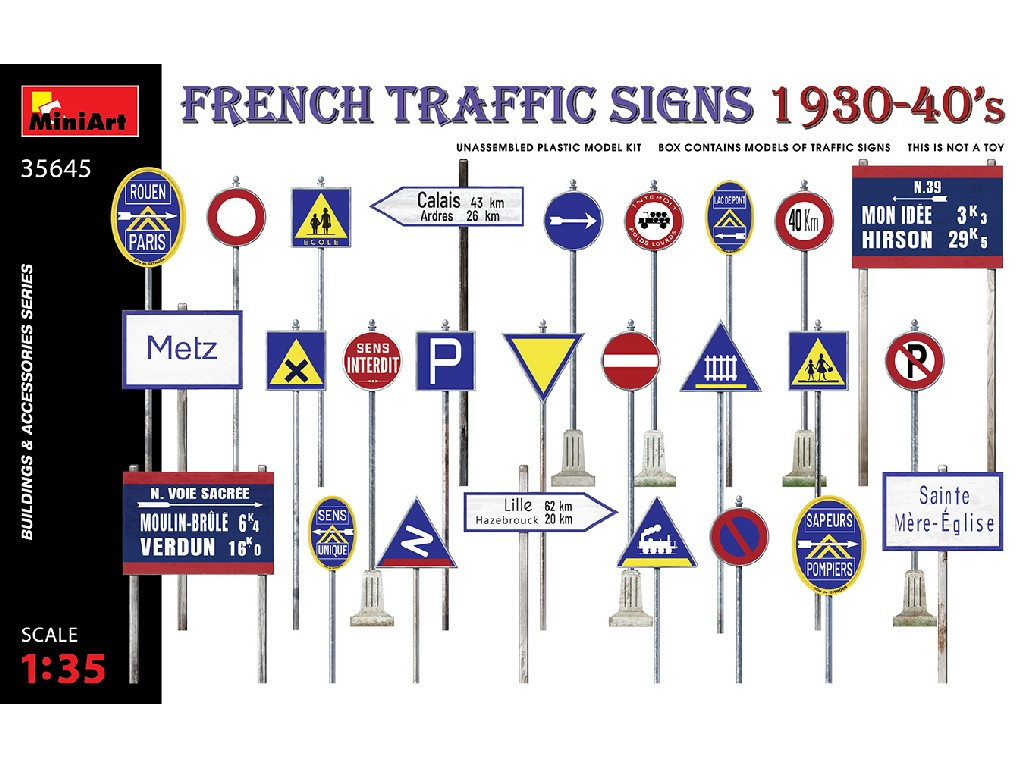 1/35 French Traffic Signs 1930-40's - Miniart
