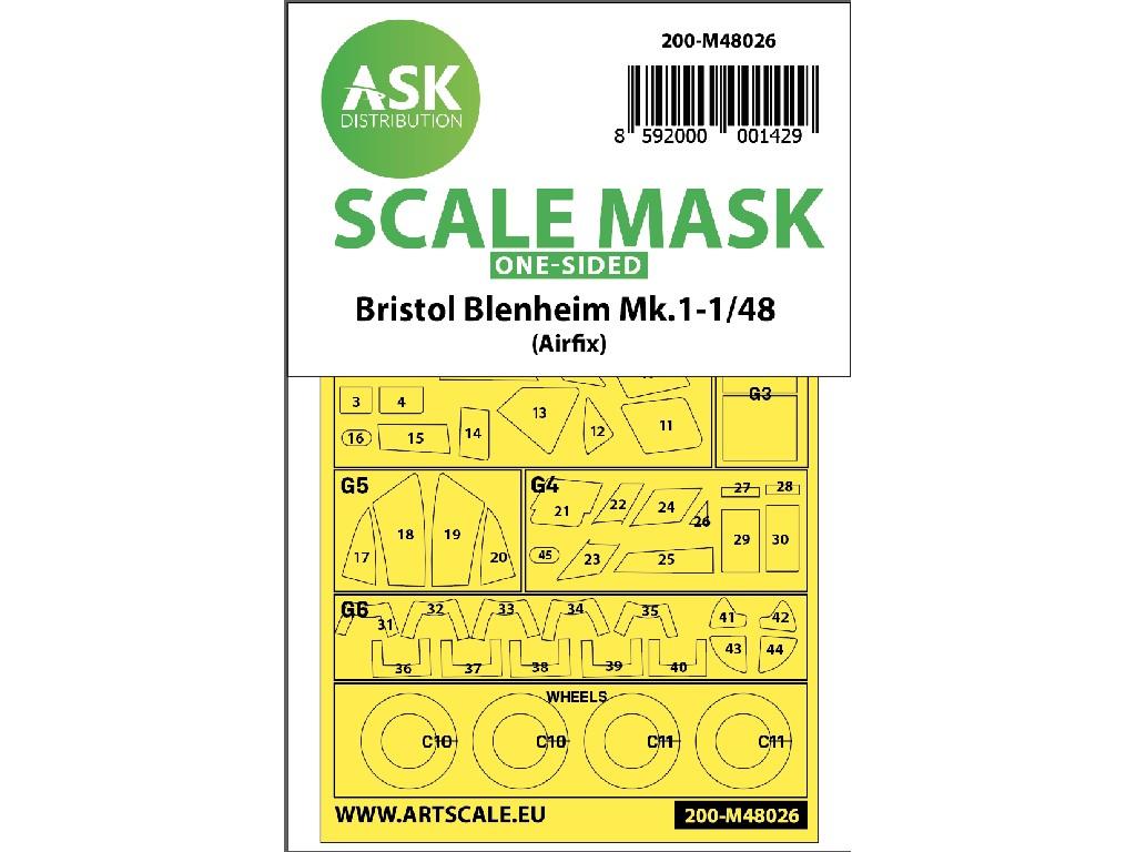 1/48 Bristol Blenheim Mk.I one-sided painting mask for Airfix