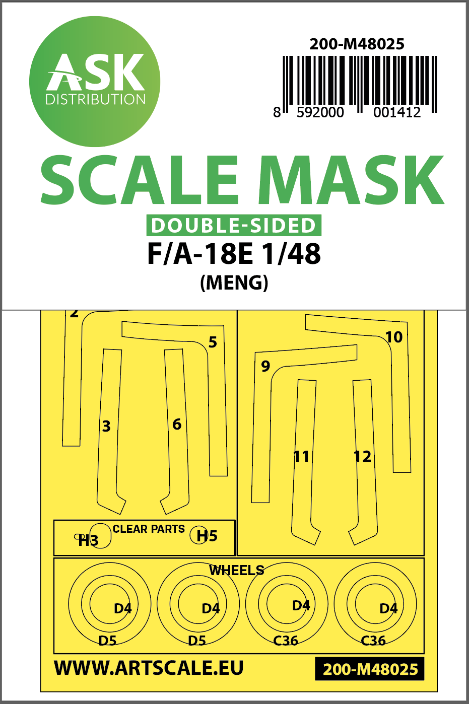 1/48 F/A-18E double-sided painting mask for Meng