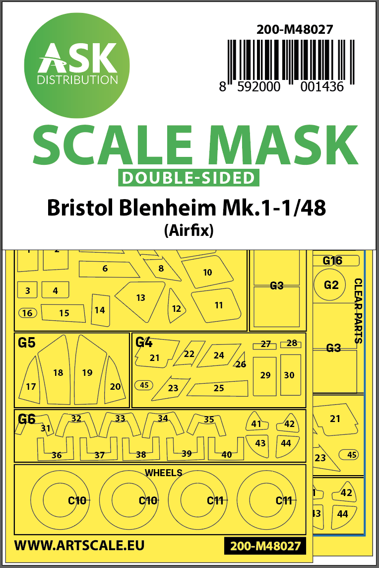 1/48 Bristol Blenheim Mk.I double-sided painting mask for Airfix