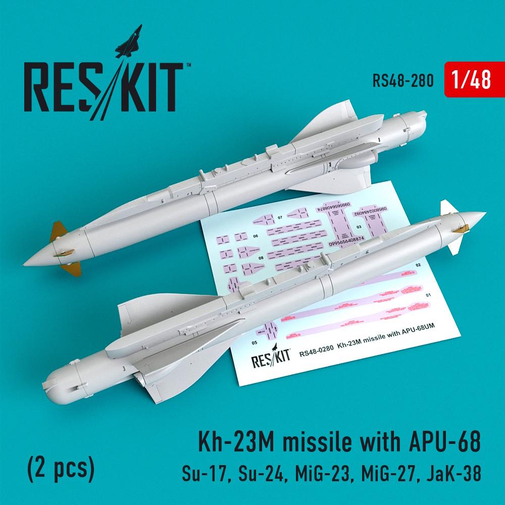 1/48 Kh-23M missile with APU-68 (2 pcs)(Su-17, Su-24, Mig-23, Mig-27, JaK-38)