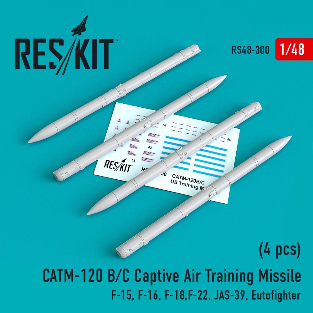 1/48 CATM-120 B/C Captive Air Training Missile (4 pcs) (F-15, F-16, F-18,F-22, JAS-39, Eutofighter )