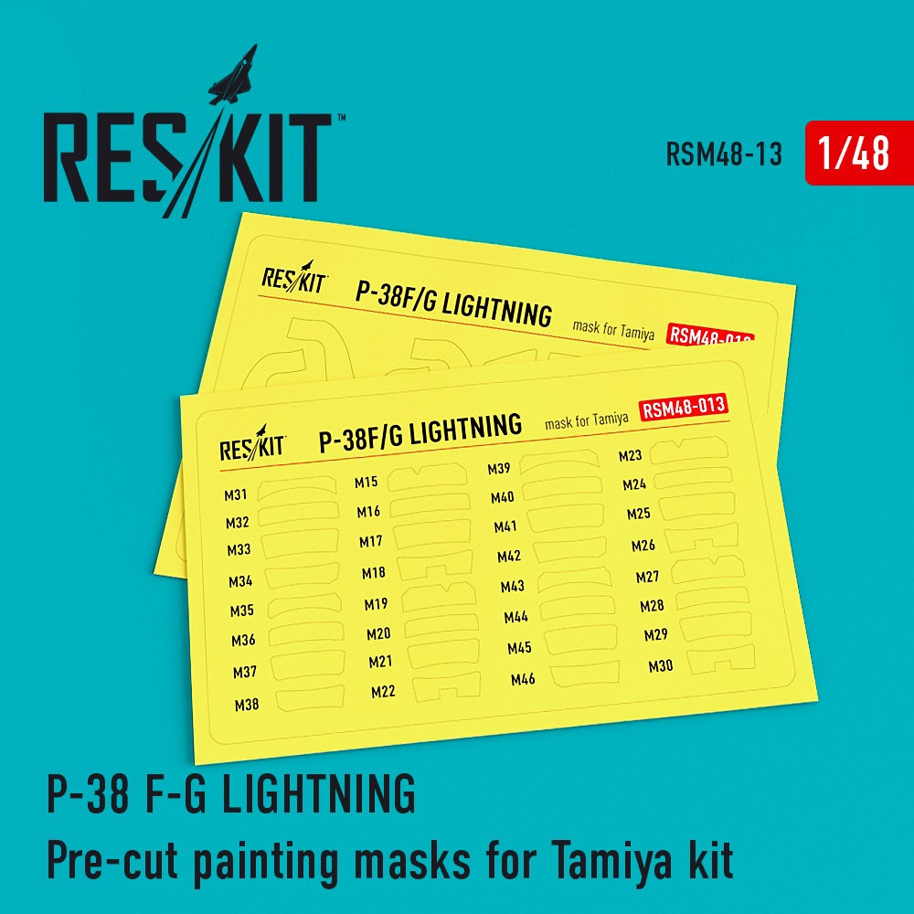 1/48 P-38 F/G Lightning Pre-cut painting masks for Tamiya Kit