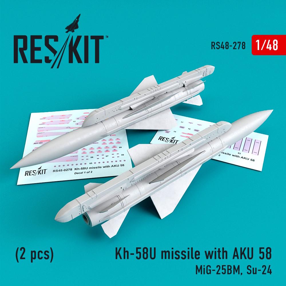 1/48 Kh-58U missile with AKU 58 (2 pcs) (MiG-25BM, Su-24)