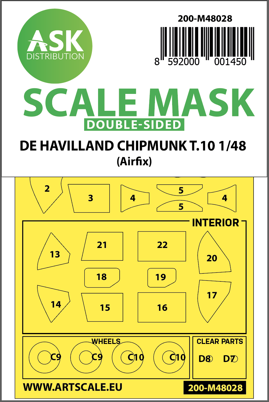 1/48 De Havilland Chipmunk T.10 double-sided painting mask for Airfix