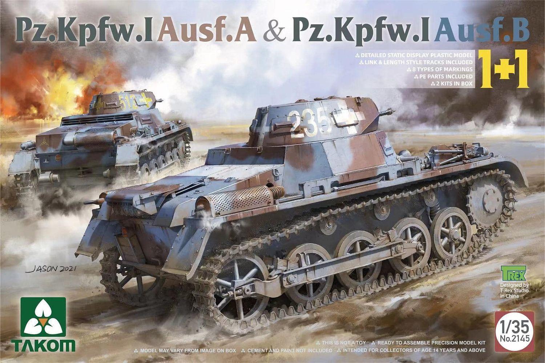 Plastikový model 2 tanků 1/35 Pz.Kpfw. I Ausf. A + Pz.Kpfw. I Ausf. B - Takom