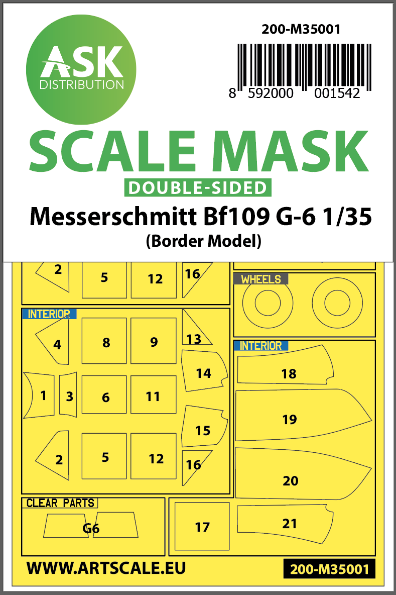 1/35 Messerschmitt Bf 109G-6 double-sided painting mask for Border Model