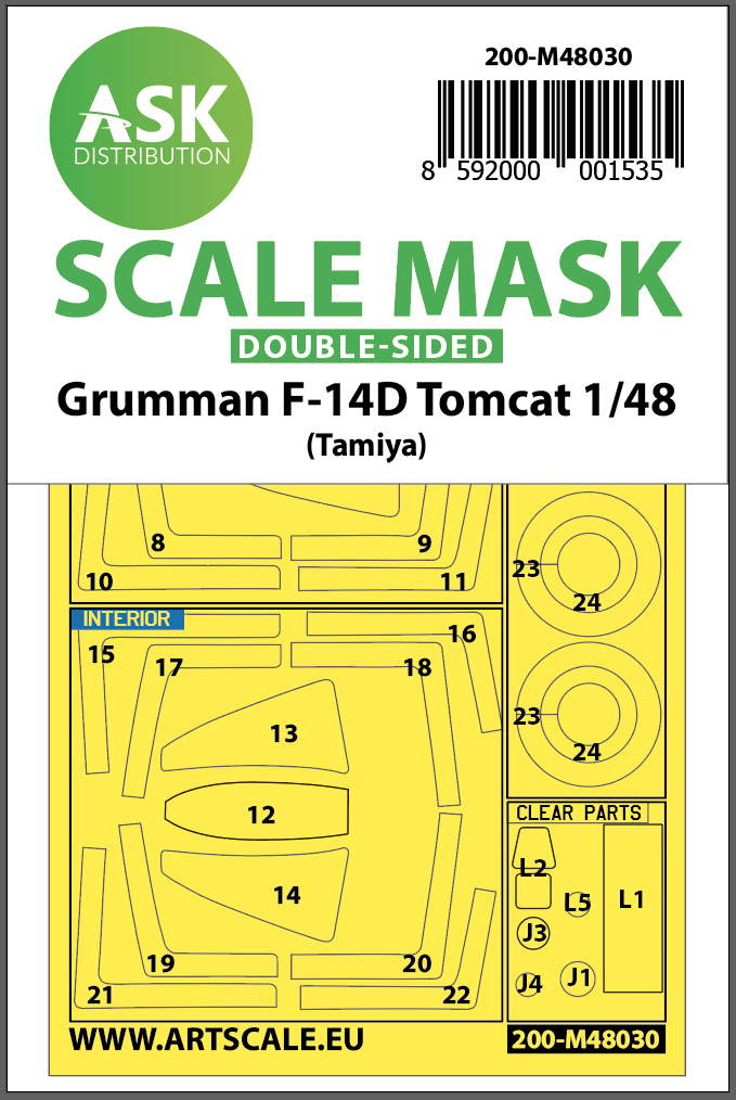 1/48 F-14D double-sided painting mask for Tamiya