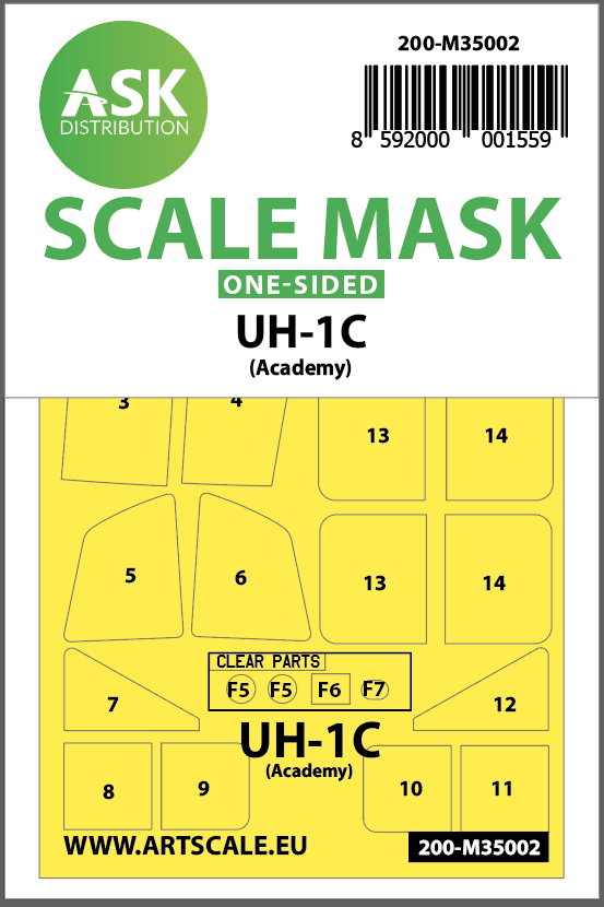 1/35 UH-1C one-sided painting mask for Academy
