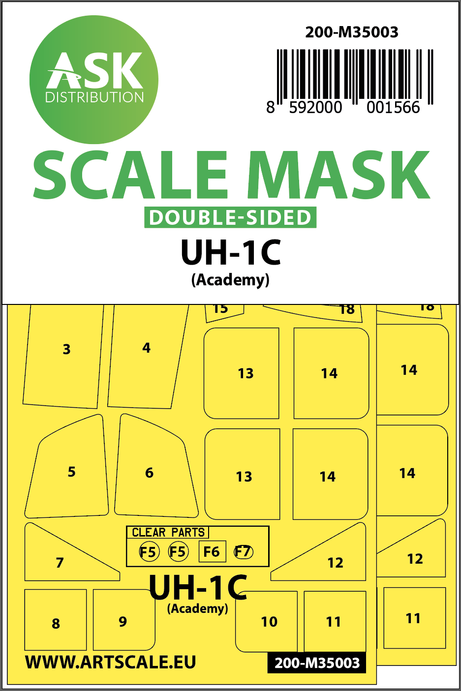 1/35 UH-1C double-sided painting mask for Academy