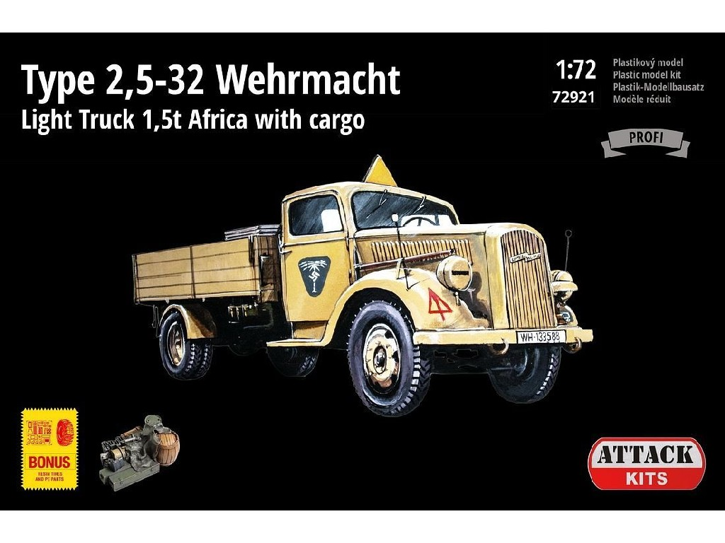 Attack Kits - ATT72921 - TYPE 2,5-32 WEHRMACHT, LIGHT TRUCK 1,5T AFRICA WITH CARGO 1:72
