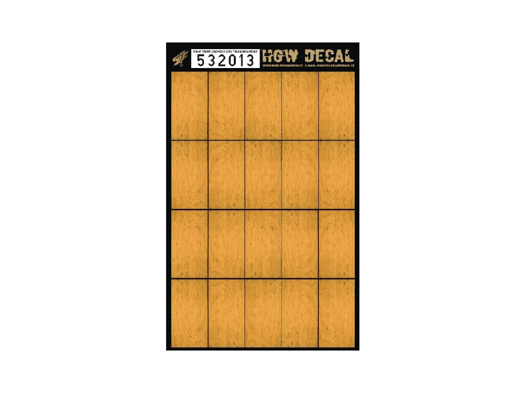 1/32 Pine Tree - Yellow Tone - Decals Wood Grain - transparent 20 pc. of 60 x 32 mm