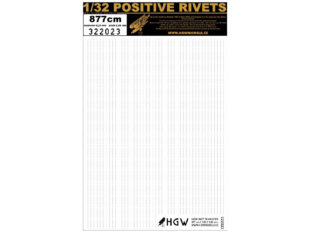 1/32 Single Lines - Free Lines of Rivets - spacing: 0.8 mm 877 cm 1/32