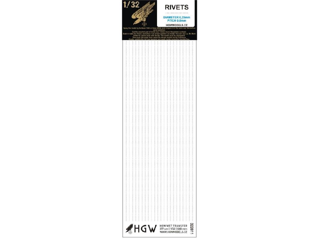 1/32 Single Lines - Free Lines of Rivets - spacing: 0.80 mm 377 cm 1/32