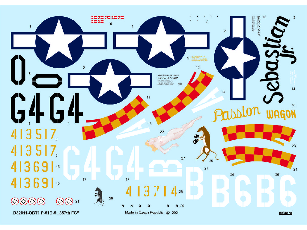 Eduard - D32011 - P-51D-5 357th FG for TAMIYA/REVELL kit 1:32