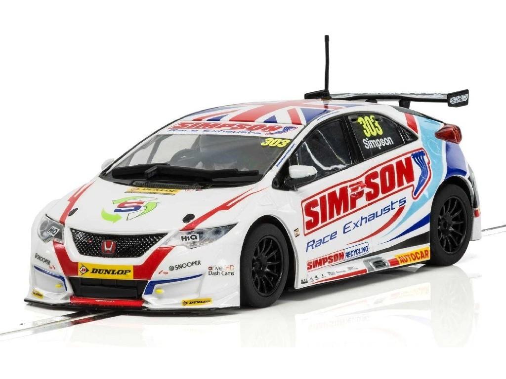 Autíčko Circuit Scalextric C3915 - Honda Civic Type R NGTC – BTCC 2017 Matt Simpson (1:32