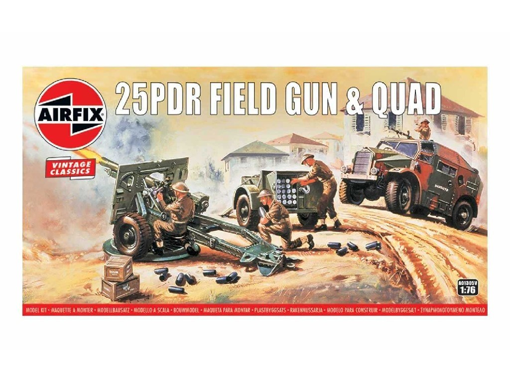 1/76 Plastikový model - Vintage military A01305V - 25pdr Field Gun and Quad