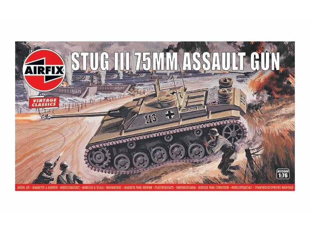 1/76 Plastikový model - Vintage military A01306V - Stug III 75mm Assault Gun