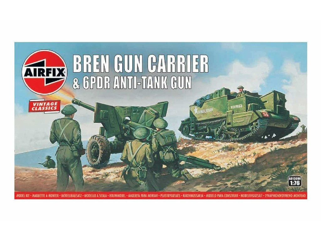 1/76 Plastikový model - Vintage military A01309V - Bren Gun Carrier and 6 pdr Anti-Tank Gun