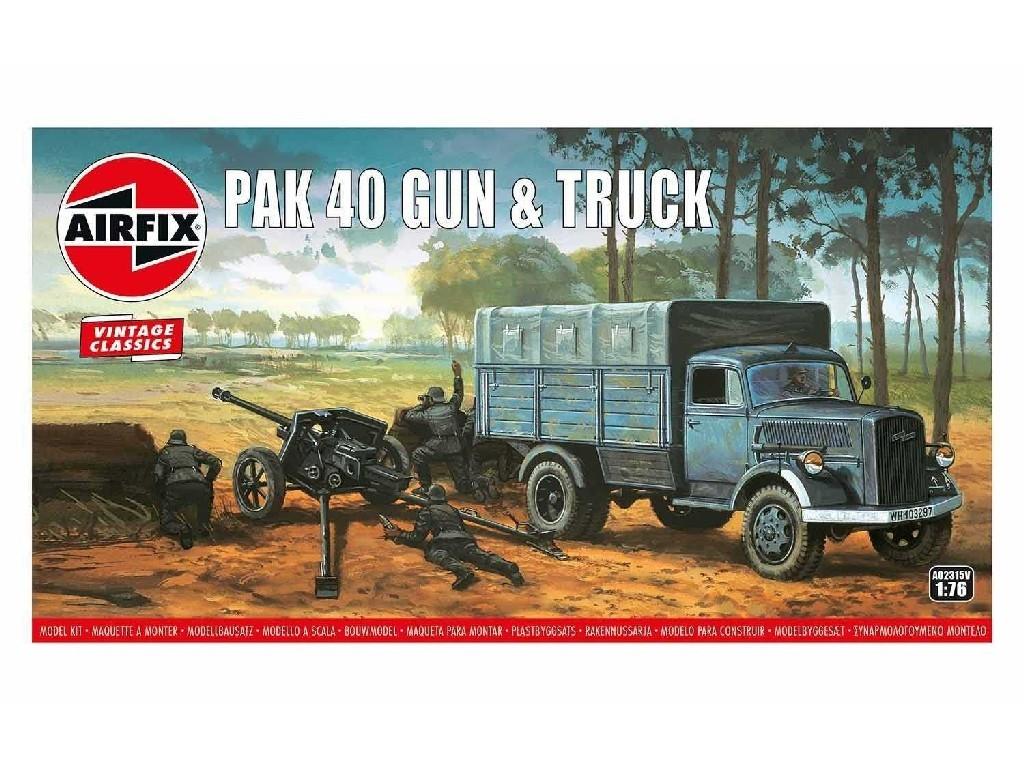 1/76 Plastikový model - Vintage military A02315V - PAK 40 Gun and Truck