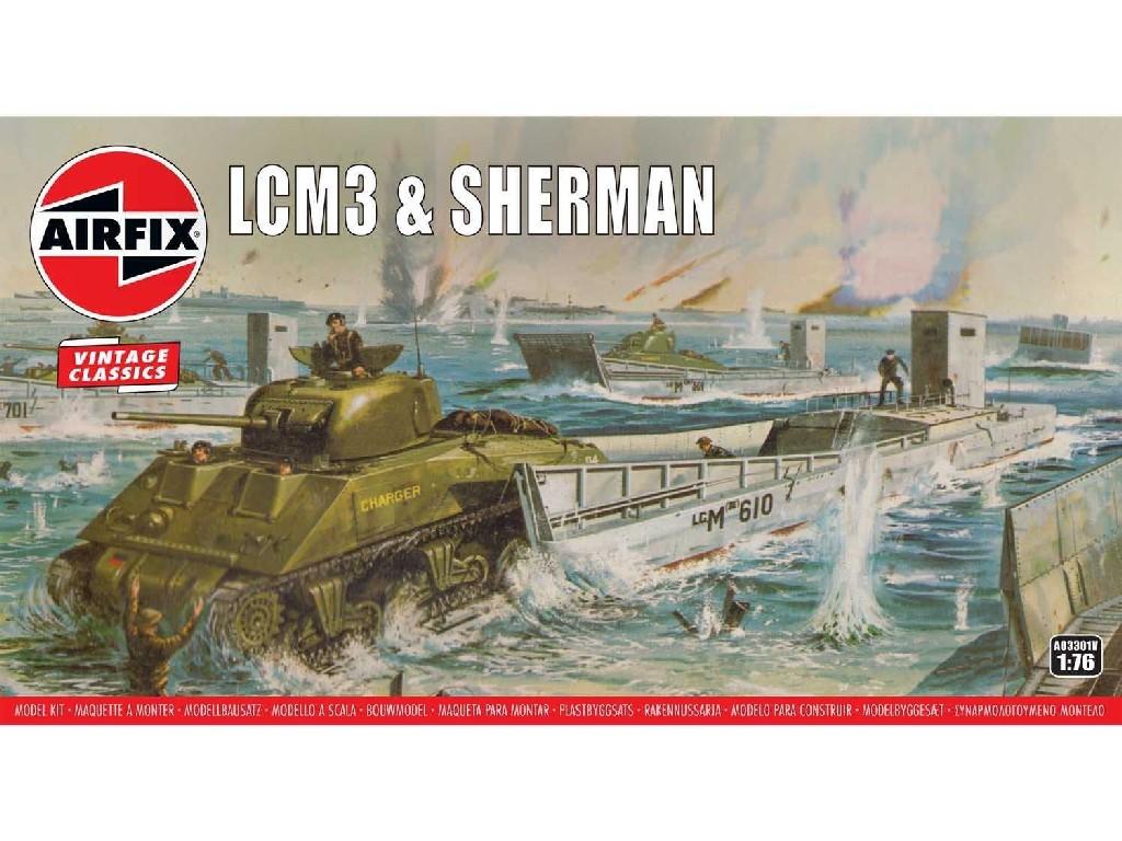 1/76 Plastikový model - Vintage military A03301V - LCM3 and Sherman Tank