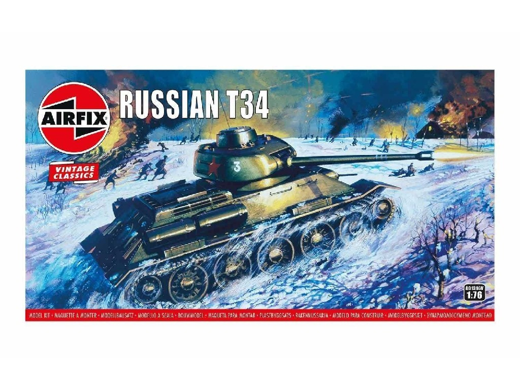 1/76 Plastikový model - Vintage tank A01316V - Russian T34 Medium Tank