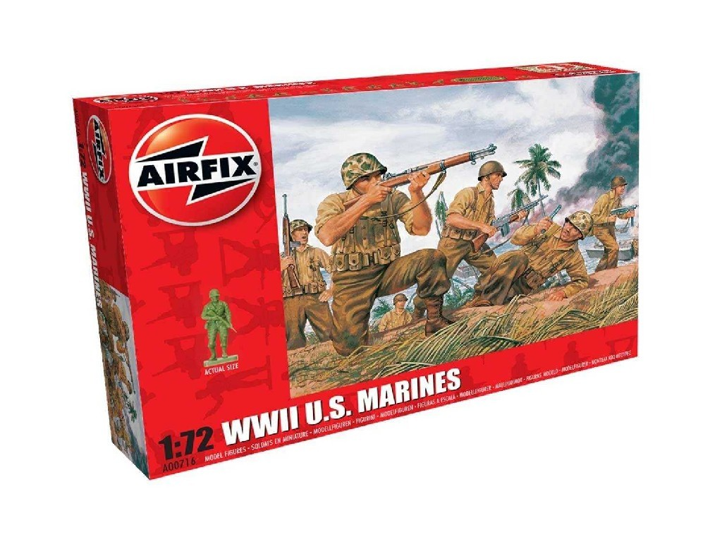 1/72 Plastikový model - figúrky A00716 - WWII US Marines