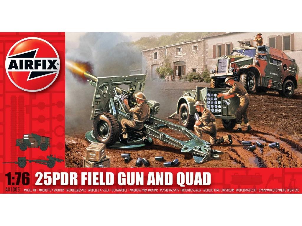 1/76 Plastikový model - military A01305 - 25pdr Field Gun and Quad