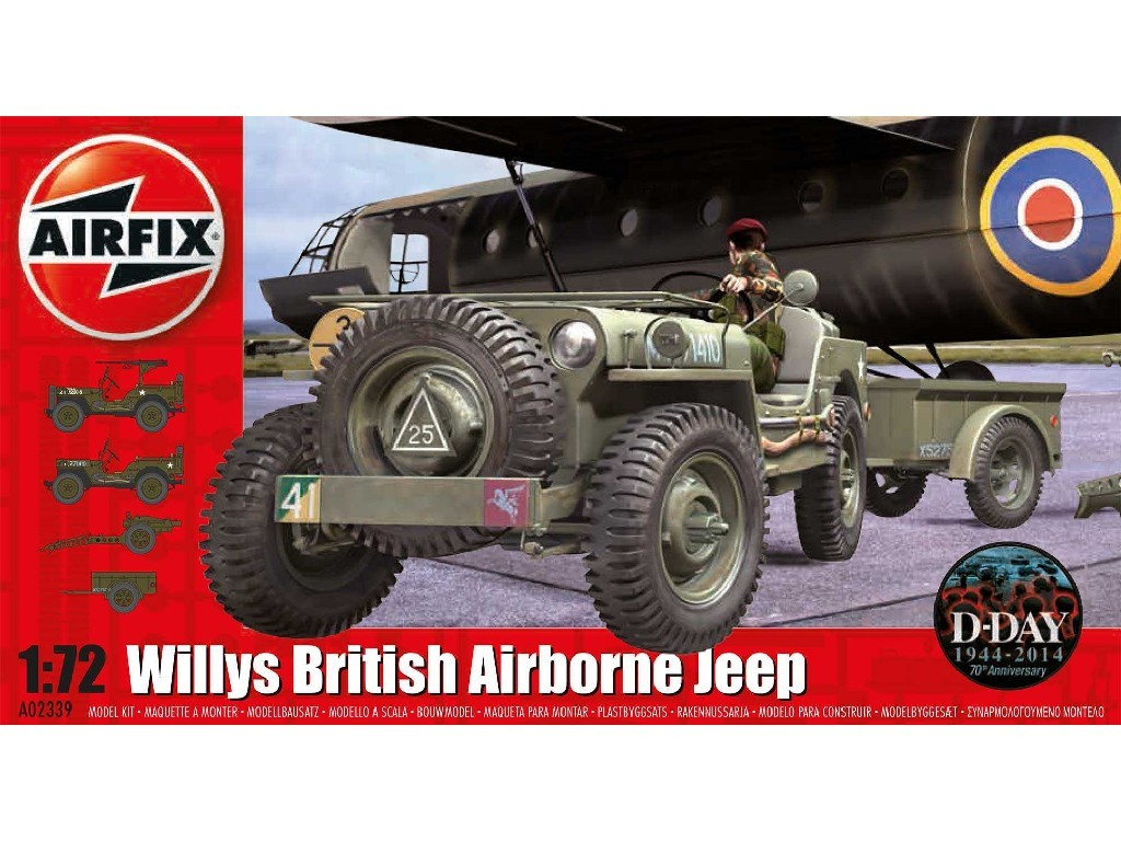 1/72 Plastikový model - military A02339 - Willys Jeep, Trailer and 6PDR Gun