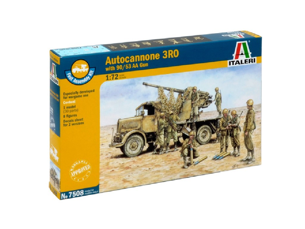 1/72 Plastikový model - Fast Assembly military 7508 - Autocannon Ro3 with 90/53 AA gun