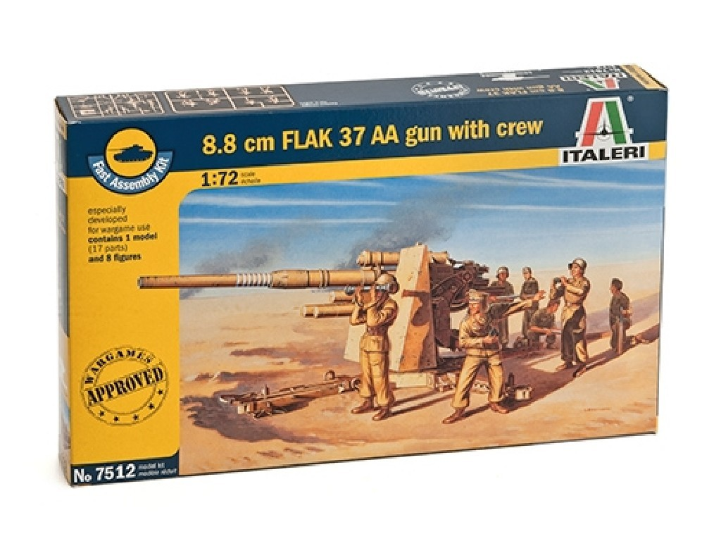 1/72 Plastikový model - Fast Assembly military 7512 - 8.8 CM FLAK 37 AA GUN with crew