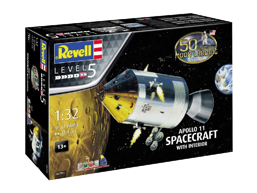 1/32 Gift-Set 03703 - Apollo 11 Spacecraft with Interior (50 Years Moon Landing)
