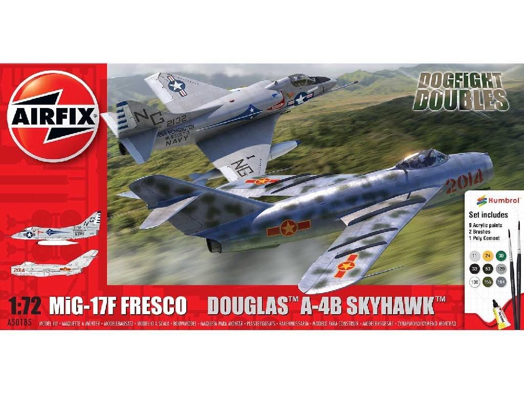 1/72 Plastikový model Set - letadlo A50185 - Mig 17F Fresco Douglas A-4B Skyhawk Dogfight Double