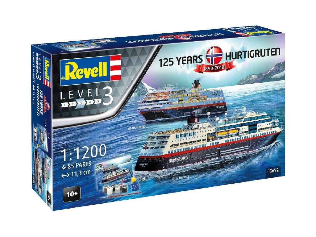 1/1200 Gift-Set loď 05692 - 125 Years Hurtigruten TROLLFJORD and MIDNATSOL