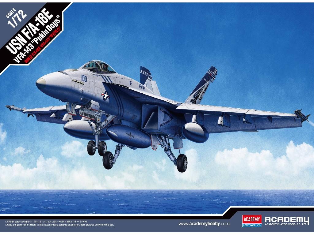 1/72 Plastikový model - letadlo 12547 - USN F/A-18E VFA-143 PUKIN DOGS